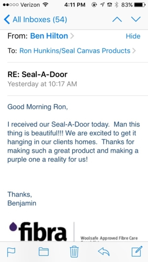 One Seal-A-Door Raffle Winner's Opinion....